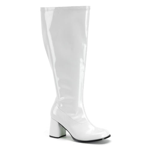 GOGO-300X Funtasma Sexy Shoes 3 Inch Wide Width Gogo Boots, Plus Size, Side Zip-Plus Sizes & Wide Width/Shaft-Funtasma-7 uk (40 Europe - 10 Usa)-White Str Patent-Miss Hollywood Sexy Shoes