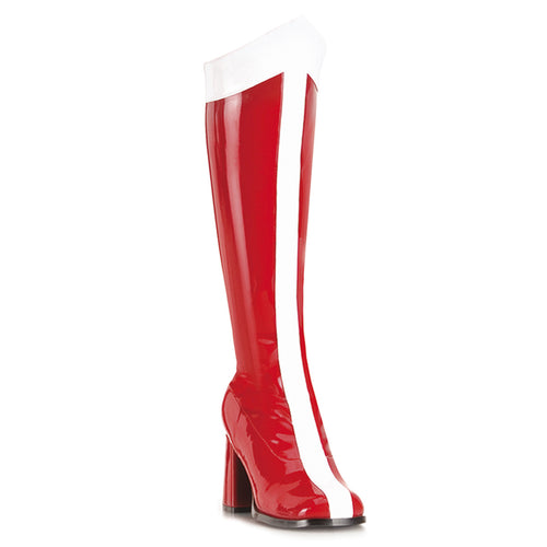 GOGO-305 Funtasma Sexy Shoes 3 Inch Block Heel Wonder Woman Boots, Super Hero, Side Zip-Women's Boots-Funtasma-7 uk (40 Europe - 10 Usa)-Red-White Str Patent-Miss Hollywood Sexy Shoes