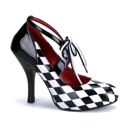 HARLEQUIN-03 Funtasma Sexy Shoes 4 Inch Heel Black/White Harlequin in Diamond Printed Patent-Women's Shoes-Funtasma-7 uk (40 Europe - 10 Usa)-Black-White Patent-Checkers-Miss Hollywood Sexy Shoes