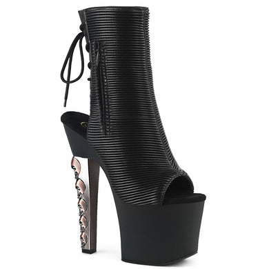 Sexy HEX-1018 Pleaser Sexy Shoes 7 Inch Skulls Stacked Heel Open Toe Platform Ankle Boots  Pleaser