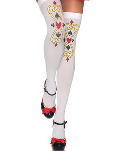 LA6215 opaque thigh high socks card print hold ups-Stockings-Leg avenue-White/White-Miss Hollywood Sexy Shoes