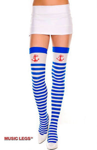 ML4681 Sexy opaque thigh high socks hold ups with sailor print-Stockings-Music Legs-As Shown-Miss Hollywood Sexy Shoes
