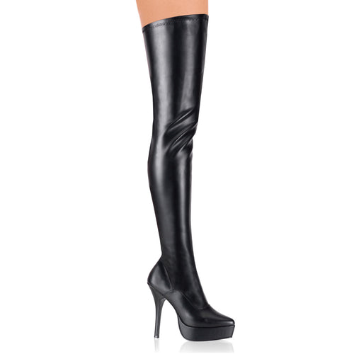 INDULGE-3000 Devious 5 Inch Heel Black Platforms Thigh Highs