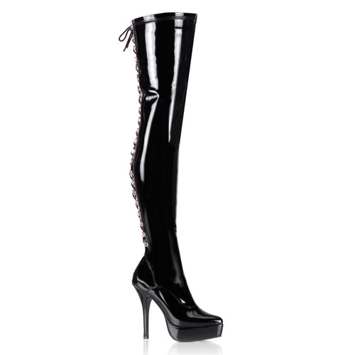 INDULGE-3063 Devious Fetish Footwear 5 Inch Heel Thigh Boots-Devious- Sexy Shoes