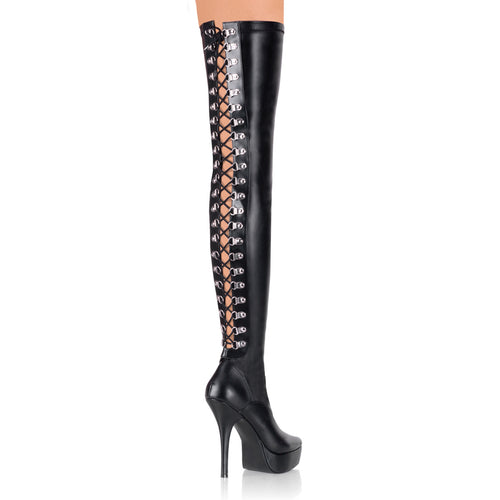 INDULGE-3063 Devious Fetish Shoes 5 1/4 Inch Back Lace-Up Stretch Platforms Thigh High Length Boots-Platforms-Devious-Heels for men-Miss Hollywood Sexy Shoes