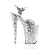 INFINITY-910LG Pleaser Sexy Shoes 9 Inch Heel Silver Glitter Ankle Strap Sandals