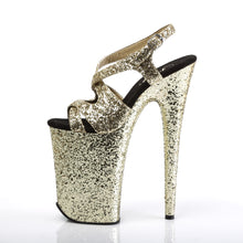 "Load image into Gallery viewer, INFINITY-930LG 9"" Heel Gold Glitter Pole Dancing Platforms-Pleaser-Miss Hollywood Sexy Shoes"