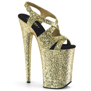 "INFINITY-930LG 9"" Heel Gold Glitter Pole Dancing Platforms-Pleaser-Miss Hollywood Sexy Shoes"