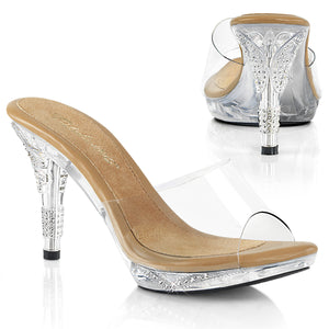 IRIS-401 Clear Slip on Posing Competition Shoes with Clear Uppers Bling details.