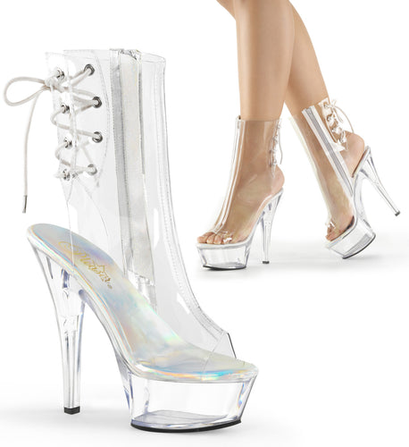 KISS-1018C Pleaser Sexy Shoes 6 Inch Stiletto Heel Clear Platform Ankle Boots - Miss Hollywood