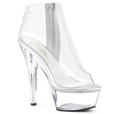 KISS-1023 Pleaser Sexy Shoes 6 Inch Stiletto Heel Clear Platform Ankle Boots by Pleaser Shoes