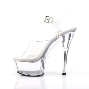 KISS-208DAS Pleaser Pole Dancing Shoes 6 Inch Spike Heel Platforms Sandals Clear Strippers Shoes