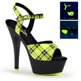 KISS-209PL Sexy Shoes Plaid Neon UV Sandals by Pleaser - Sexy Shoes - 2