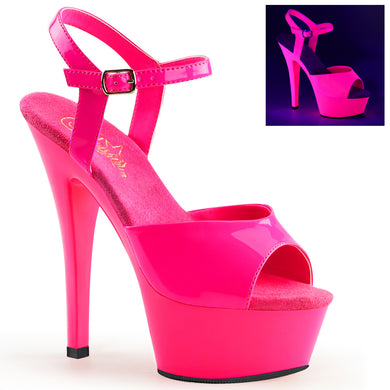Pleaser   KISS-209UV Pleaser Sexy Shoes 6 Inch Heel Ankle Strap Sandals Blacklight Sensitive  - Sexy Shoes