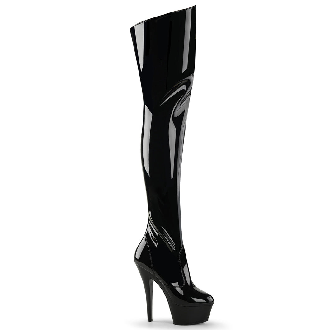 KISS-3010 Pleaser Sexy Shoes 6 Inch Stiletto Heel Platform Thigh High Length Boots - Miss Hollywood Pleaser Shoe Supplier