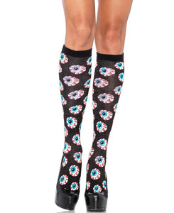 LA5210 Acrylic Creepy Eyeball Knee Highs-Stockings-Leg avenue-Black/Black-Miss Hollywood Sexy Shoes