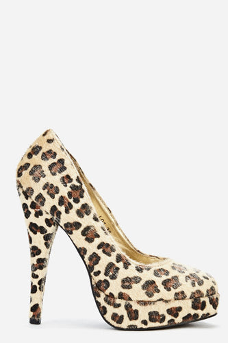 Leopard Print Platform High Heel Shoes-Shoes-Miss Hollywood-7 uk (40 Europe - 10 Usa)-Brown-Miss Hollywood Sexy Shoes