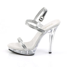 Load image into Gallery viewer, LIP-117 Fabulicious Sexy Shoes 5 Inch Unit Bottom Sandals-Shoes-Fabulicious-Footwear Fetish-Silver Metallic Pu/Clear-Miss Hollywood Sexy Shoes Pleaser Shoes