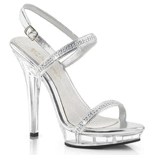 Load image into Gallery viewer, LIP-117 Fabulicious Sexy Shoes 5 Inch Unit Bottom Sandals-Shoes-Fabulicious-Footwear Fetish-Silver Metallic Pu/Clear-Miss Hollywood Sexy Shoes