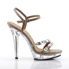 Load image into Gallery viewer, LIP-133 Fabulicious Sexy Shoes 5 Inch Heel, 3/4 Inch Platforms Ankle Strap Sandals-Shoes-Fabulicious-7 uk (40 Europe - 10 Usa)-Taupe Pu/Clear-Miss Hollywood Sexy Shoes