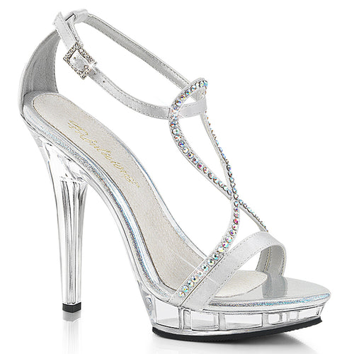 LIP-156 Fabulicious 5 Inch Heel Silver Satin Sexy Shoes