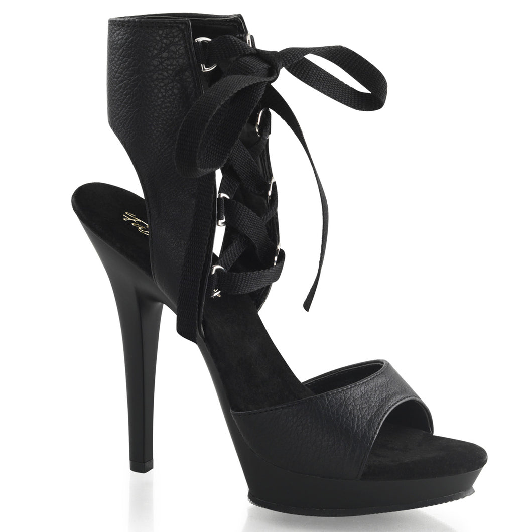 LIP-194 Fabulicious Sexy Shoes 5 Inch Heel, 3/4 Inch Platforms Front Lace-Up Ankle High Sandals - Miss Hollywood