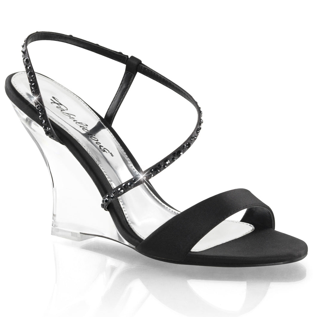 LOVELY-417 Fabulicious Sexy Shoes 4 Inch Sling Back Wedge Sandals-Shoes-Fabulicious-Footwear Fetish-Black Satin/Clear-Miss Hollywood Sexy Shoes
