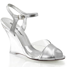 "Load image into Gallery viewer, LOVELY-442 Fabulicious 4"" Heel Clear and Silver Sexy Shoes"