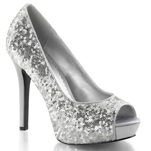 LUMINA-27SQ Fabulicious 5 Inch Heel Silver Sequins Sexy Shoe
