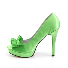 Load image into Gallery viewer, LUMINA-42 Fabulicious Sexy 4 3/4 Inch Heel Peep Toe Ribbon Detail Stiletto Shoes-Shoes-Fabulicious-Footwear Fetish-Apple Green Satin-Miss Hollywood Sexy Shoes Pleaser Shoes
