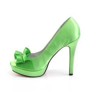 LUMINA-42 Fabulicious Sexy 4 3/4 Inch Heel Peep Toe Ribbon Detail Stiletto Shoes-Shoes-Fabulicious-Footwear Fetish-Apple Green Satin-Miss Hollywood Sexy Shoes Pleaser Shoes