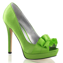 Load image into Gallery viewer, LUMINA-42 Fabulicious Sexy 4 3/4 Inch Heel Peep Toe Ribbon Detail Stiletto Shoes-Shoes-Fabulicious-Footwear Fetish-Apple Green Satin-Miss Hollywood Sexy Shoes