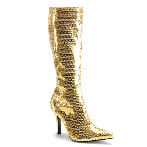 LUST-2001SQ Funtasma Sexy Shoes 3 3/4 Inch Heel, Silver Sequins Knee High Length Boots-Women's Boots-Funtasma-7 uk (40 Europe - 10 Usa)-Gold Sequins-Miss Hollywood Sexy Shoes