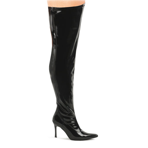 LUST-3000X Funtasma Sexy 3 3/4 Inch Heel Wide Width Thigh High Length Boots-Plus Sizes & Wide Width/Shaft-Funtasma-7 uk (40 Europe - 10 Usa)-Black Str Patent-Miss Hollywood Sexy Shoes