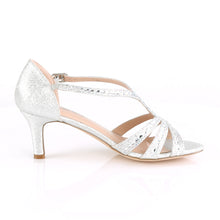 "Load image into Gallery viewer, MISSY-03 Fetish 2.5"" Heel Silver Shimmering Fabric Sexy Shoe"
