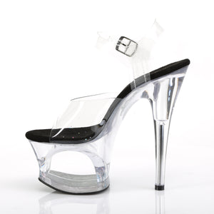 "MOON-708 7"" Heel Clear and Black Pole Dancing Platforms"