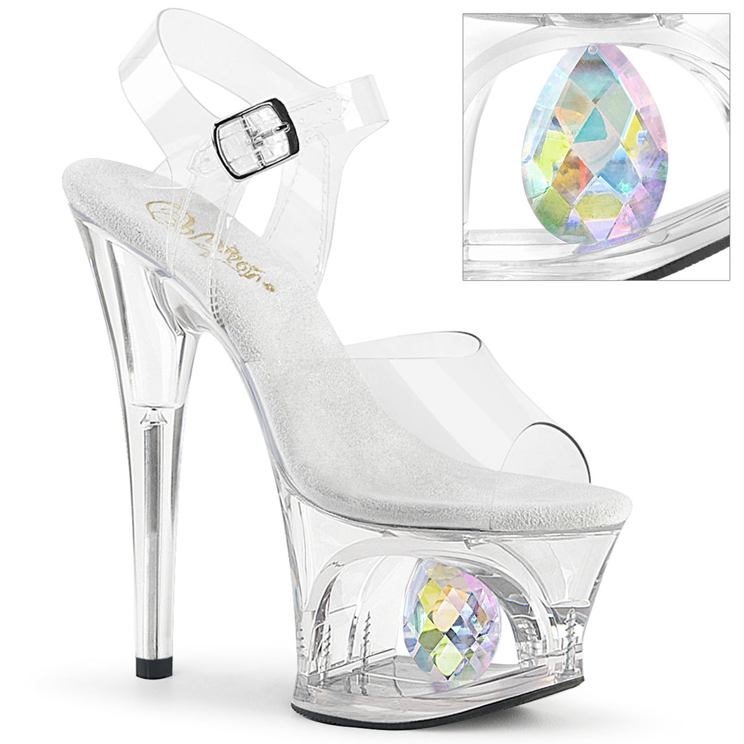 MOON-708DIA Pleaser 7 Inch Heel Clear Pole Dancing Platforms