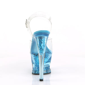 "MOON-708GFT 7"" Heel Clear & Blue Tinted Pole Dancer Platform"