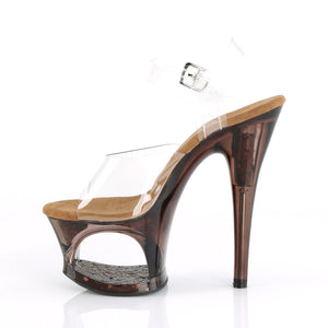 "MOON-708GFT 7"" Heel Clear Bronze Tint Pole Dancing Platforms"