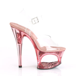 "MOON-708GFT 7"" Heel Clear & Pink Tinted Pole Dancer Platform-Pleaser-Miss Hollywood Sexy Shoes"