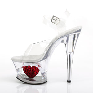 MOON-708HRS 7 Inch Heel Clear and Red Pole Dancing Platforms