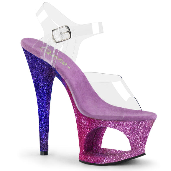 MOON-708OMBRE Pleaser Sexy Stripper Shoes Cut-Out Ombre Platforms Ankle Strap Sandals