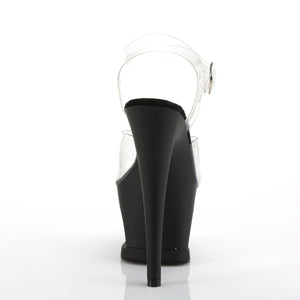 "MOON-708SK 7"" Heel Clear & Black Pewter Pole Dancer Heels"