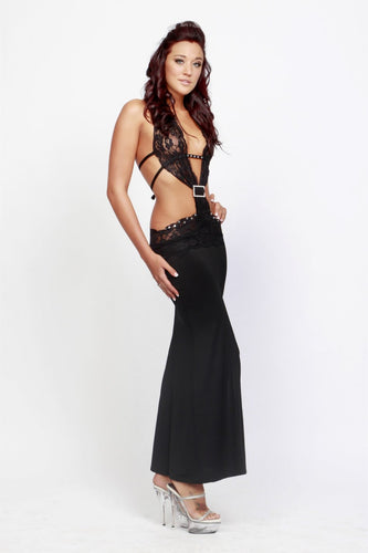 NL2159 Sexy Long Dress with Lace ad Diamante Buckle Ohh La La-Dress-Miss Hollywood-Medium-Black-Miss Hollywood Sexy Shoes
