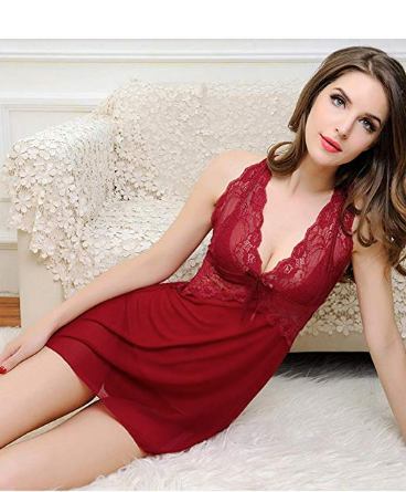 NL6027 Sexy Sheer Deep Red Chemise Lingerie