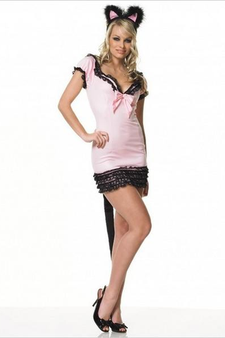 LA83108 Sexy Kitty Cat Fancy Dress Costume - Miss Hollywood - 1