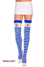 Load image into Gallery viewer, ML4681 Sexy opaque thigh high socks hold ups with sailor print-Stockings-Music Legs-As Shown-Miss Hollywood Sexy Shoes