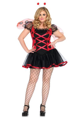 LA83652X Lovely Ladybug Plus Size Fancy Dress Costume - Miss Hollywood - 1