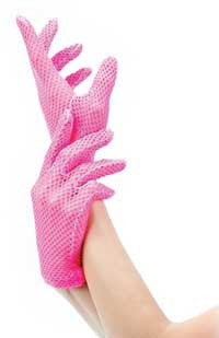 LAG9011 Sexy Neon Pink Fishnet Gloves - Miss Hollywood