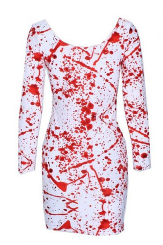 BM031 Sexy Mini Dress with Blood Stain Halloween Style Fancy Dress Costume-Mini Dress-Miss Hollywood-Small-Miss Hollywood Sexy Shoes